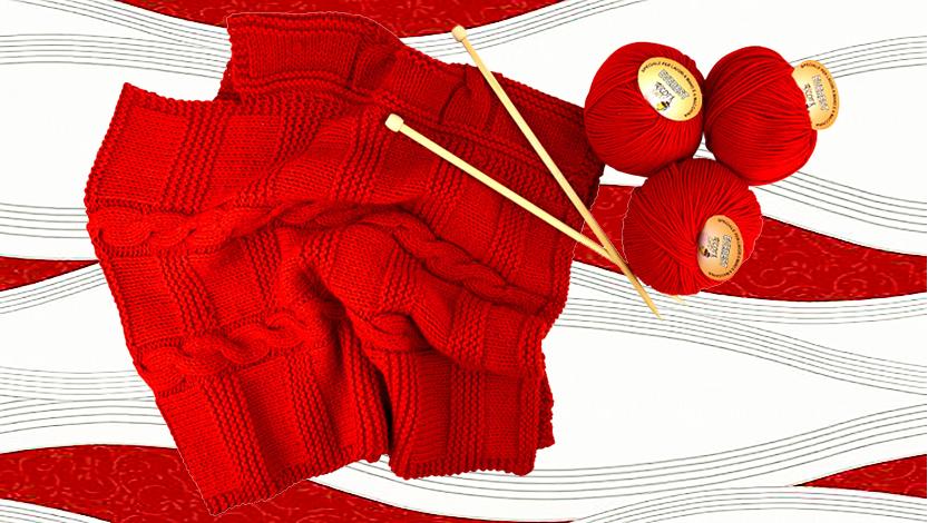 poncho di lana con trecce